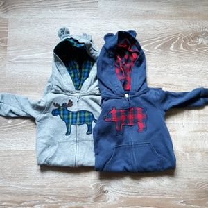 Set of 2 Carter's Zip up Hooded Onesies